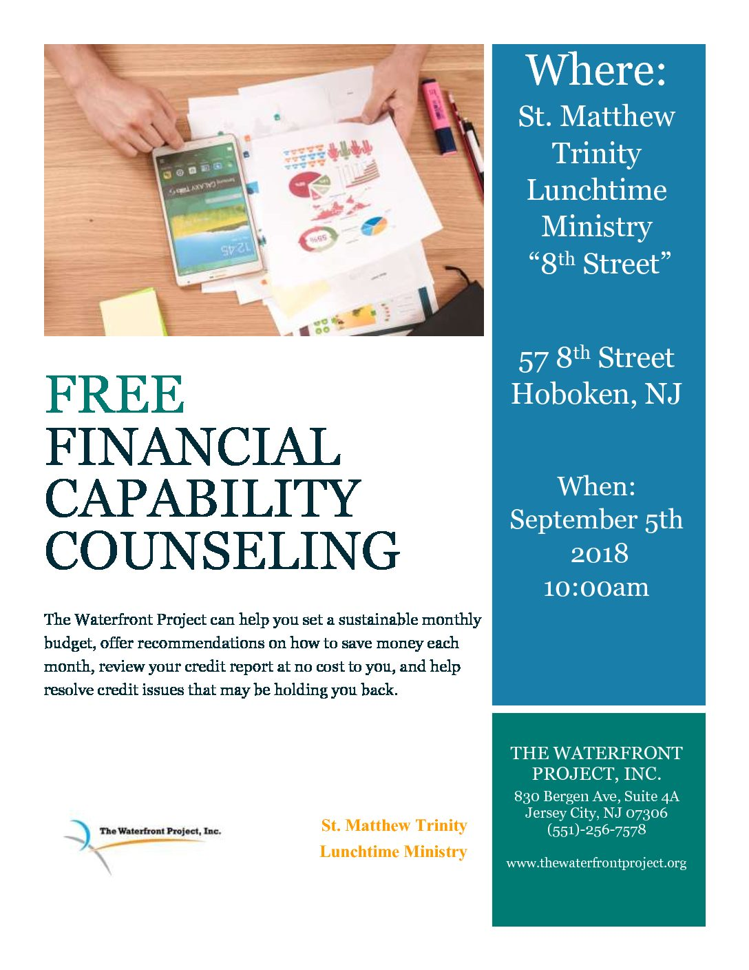 Free One-on-One Financial Counseling 9/5 – The Waterfront Project, Inc